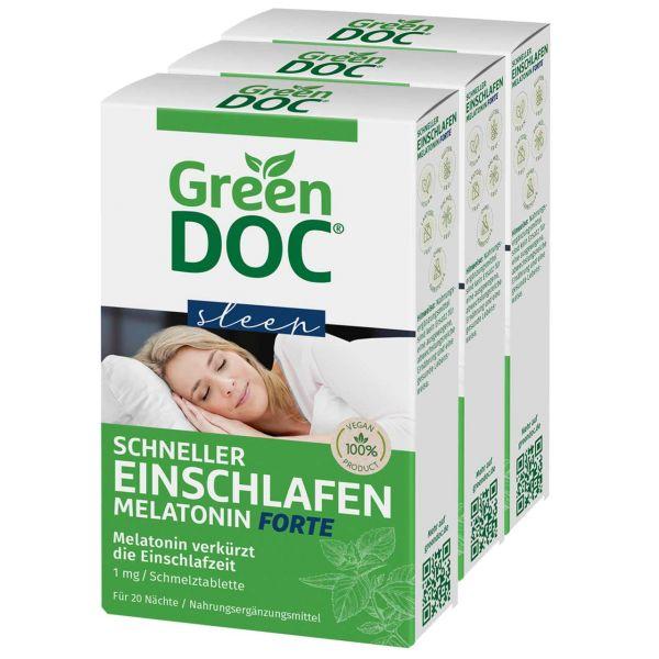 GreenDoc Schneller Einschlafen Melatonin Tabletten Forte im Vorteilspaket 10% sparen