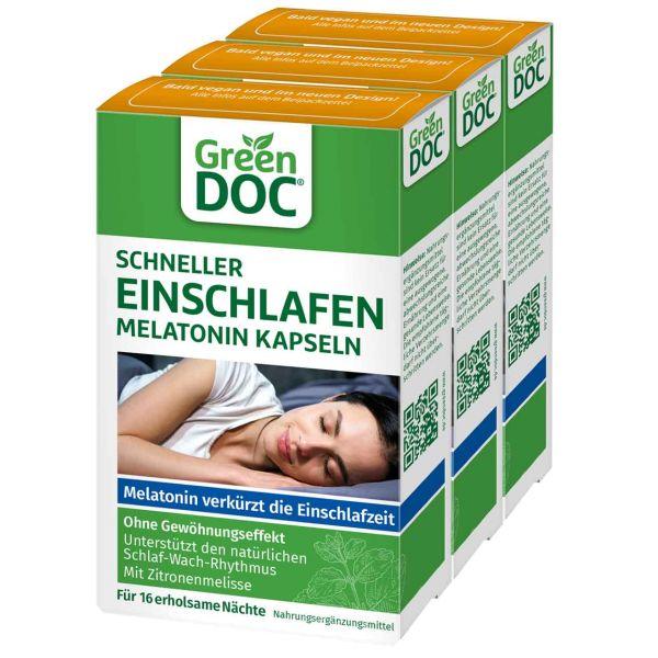 GreenDoc Schneller Einschlafen Melatonin Kapseln 3er Bundle A